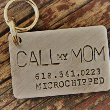 Custom Hand Stamped Dog ID Tag, Call My Mom, Personalized Dog Tag, Tag for Large Dog, Copper Dog Tag, Aluminum Pet ID Tag