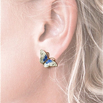 Enamel butterfly earrings. Vintage Hroar Prydz. Norway Sterling Clip. Wedding jewelry