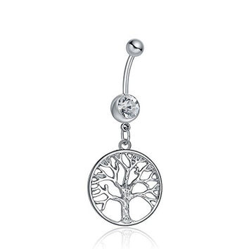 316L Surgical Steel 14G Clear Crystal Family Tree of Life Dangle Navel Ring Belly Bar Button