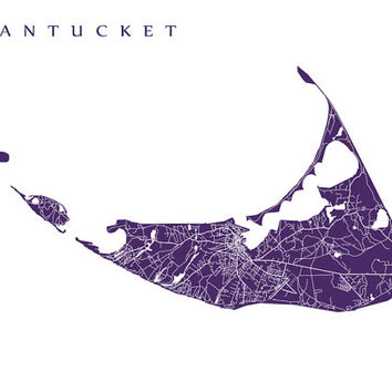 Nantucket Map Print - Massachusetts Poster