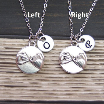 2 Pinky Promise necklaces, with hand stamped initial disc, personalized sisters necklaces, matching necklaces for couple, mother daughter