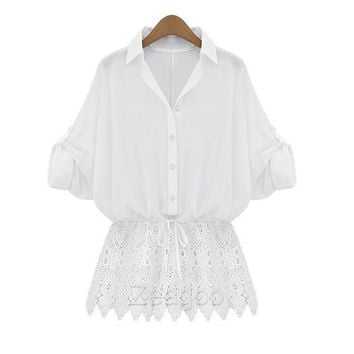 Women Ladies T-Shirt Long Sleeve Tops Lace Loose Batwing Blouse Sexy Fashion  Z_G = 1946237252