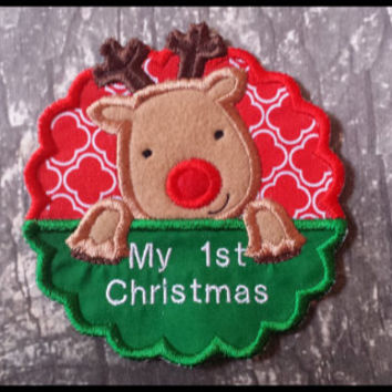 My First Christmas Iron On Applique, Personalized Reindeer Name Iron On, Christmas Iron On