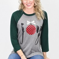 JOY Buffalo Plaid Ornament Raglan {Grey/Emerald Green}