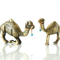 PAIR of BRASS CAMELS,  Midcentury, Hollywood Regency, Animal Figurine Set, One Hump, Middle Eastern, Touch of Blue, Copper Home Decor