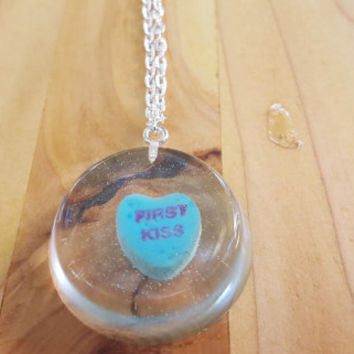 Necklace Conversation Heart Pendant Casted Candy in Resin Valentine's Day First Kissve Blue Sweetheart