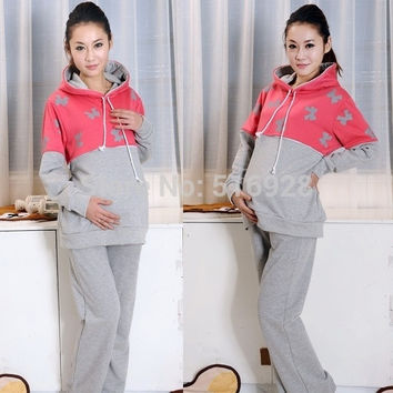 Winter Nursing Clothes For Pregnant Women Breast Feeding Tops + Pants Maternity Sports Suits Hoodies Clothing@XRH = 1946797508