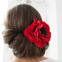 Red Wedding hair flower - Wedding hair piece- red flower - Wedding hair accessories, Flower brooch