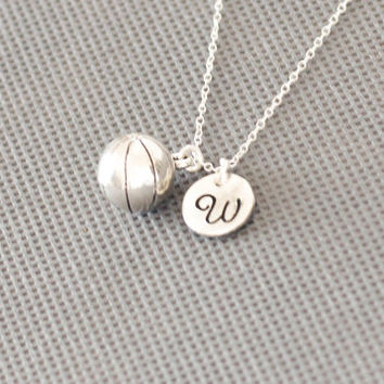 Basketball Ball Necklace. Personalized Jewelry. charm initial jewelry. gift for friend sister mom her