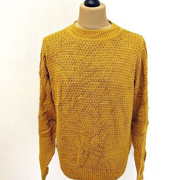 Vintage 90's Mustard Yellow Shaker Knit Jumper Sweater XL