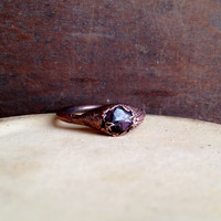 Garnet Ring - January Birthstone - Raw Stone Ring - Copper Ring - Semiprecious Stone Ring - SIZE 7