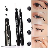 ONETOW Pinkiou 1x Eyeliner Pencil Pen with Eye Makeup Stamp Waterproof Double Sided Long Lasting Seal Eyeliner Cosmetics Tool(Plum)