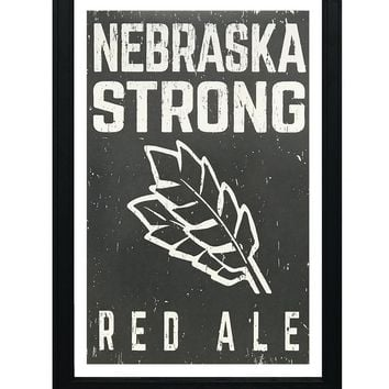 """Nebraska Strong Red Ale Craft Beer Poster - Charcoal - 13x19"""""""