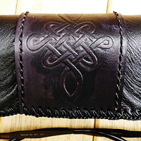 mens leather glasses case black Irish celtic design