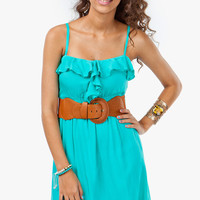 A'GACI Ruffle Cami Belted Sundress - DRESSES