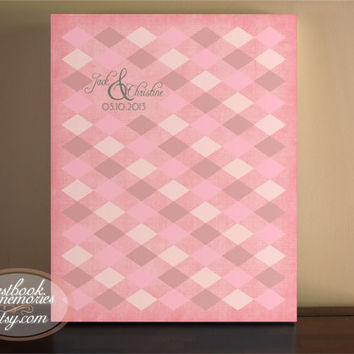 Harlequin Guestbook- 154 Guests - 16x20 print - Argle Guest Book - Vintage Guest Book - Guest book print
