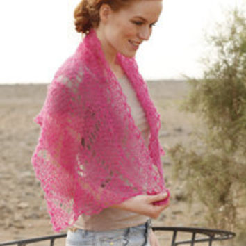 Hand Knitted scarf / shawl / shoulder wrap with lace pattern  for women