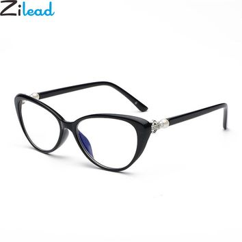 Retro Cat Eye Reading Glasses With Pearl Vintage Ultralight Women Clear Lens