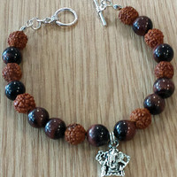 Handmade Red Tigers Eye and Rudraksha beads Bracelet with -Ganesha- Charm,mala bracelet,yoga,new age,gemstone bracelet,boho,self confidence