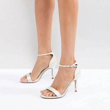 Dune London Bridal Wide Fit Two Part Heeled Shoe in Ivory at asos.com