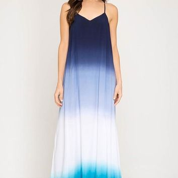 Breezy Summer Dip Dyed Maxi - Blue