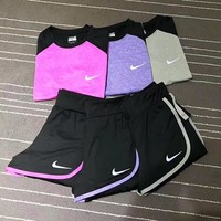 """Nike"" Print Short sleeve Top Sweatpants Set Two-Piece Sportswear"