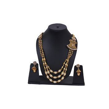 Womens Kundan Polki Pearls Gold Necklace Set with Earrings