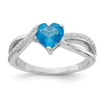 Sterling Silver 7mm Heart Swiss Blue Topaz Genuine Diamond Accented Infinity Inspired Ring
