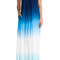 Gradient Color Strapless Maxi Dress