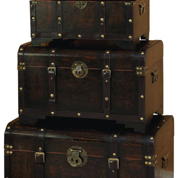 Leather and Wood Chest Trunk Set of 3