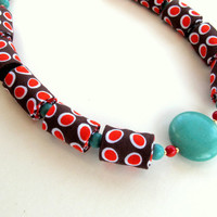 Wonderland fiber necklace in Turquoise Orange Brown