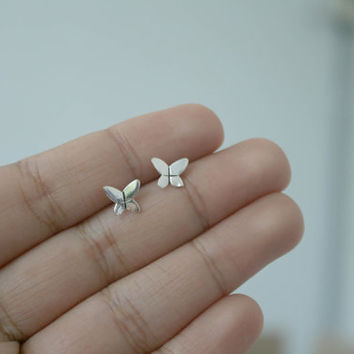 925 Sterling Silver Tiny Butterfly Stud Earrings - Silver Butterfly Earrings - Tiny Post Earrings - Valentines Gift - Bridesmaid Gift - Gift