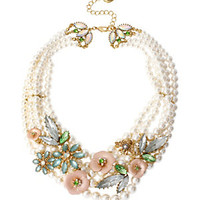 Betsey Johnson Pearl & Flower Frontal Necklace   Dillard's Mobile