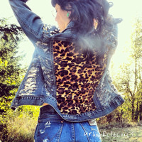 Distressed Spiked Leopard Print Jacket by UrbanEclectics on Etsy