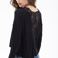 FOREVER 21 Lace Back Slub Knit Top