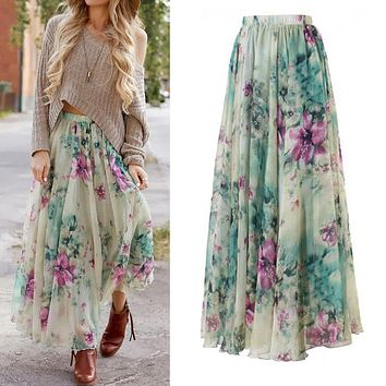New 2017 BOHO Women Floral Print Pleated Long Maxi Full Skirt Summer Ankle Length Beach Sundresses