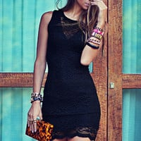 Black Sleeveless Lace Mini Dress