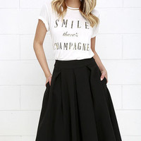 Pleats, Oh Please Black Midi Skirt