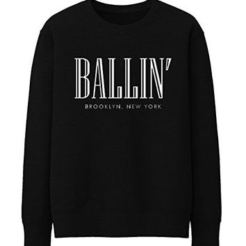 BALLIN PARIS NEW YORK BROKLYN Unisex Crewneck Sweatshirt Top Funny - Black