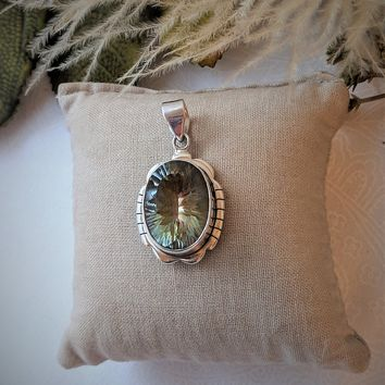 Artisan Crafted Sterling Silver Large Oval Solitaire Prasiolite Pendant