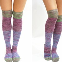 Pastel Block Knitted Thigh High Knee High Socks - Purple Green