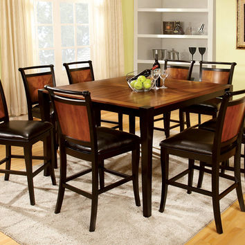 Furniture of america CM3034PT-9PC 9 pc salida ii acacia and black finish wood counter height dining table set