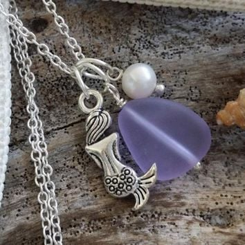 Handmade in Hawaii, purple sea glass necklace, Mermaid charm ,Fresh water pearl, 925 sterling silver chain, Mother's Day gift