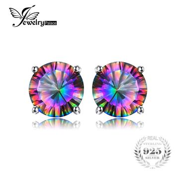 Natural Mystic Rainbow Topaz Earrings Stud For | Genuine Pure Solid 925 Sterling Silver