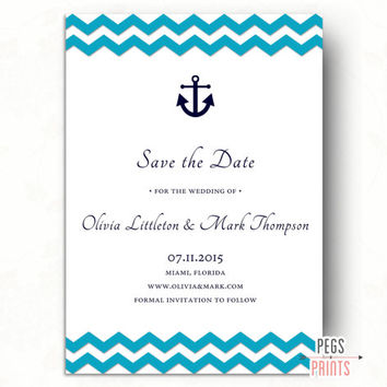 Printable Nautical Save the Date // Anchor Save the Date // Tying the Knot Save the Date // Navy Save the Date // Beach Save the Date