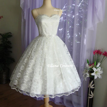 Molly - Retro Style Wedding Dress. Tea Length Vintage Design.