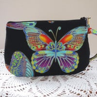 Butterflies Clutch Wristlet Zipper Gadget Pouch Smart Phone Bag