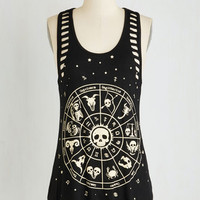 Skulls Mid-length Sleeveless Zodiacs of Life Top