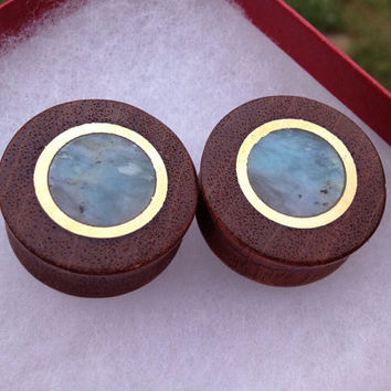 "Redwood, bronze and Peruvian opal gauged plugs 1 1/8""(27mm)--Item #135"