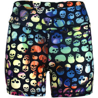 Power Shorts in Rainbow Skull